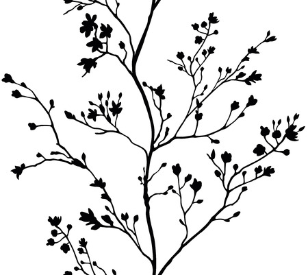 Seamless banner branches silhouette background Illusztráció