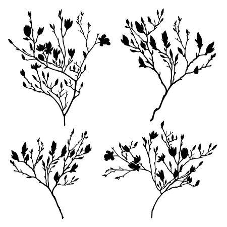 Branches vector silhouette set