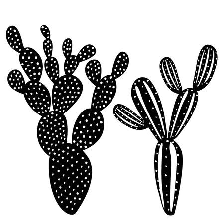 cactus silhouette set Ilustracja