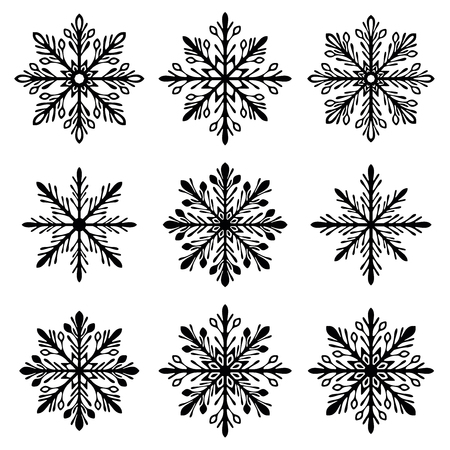 snowflake silhouette set 일러스트
