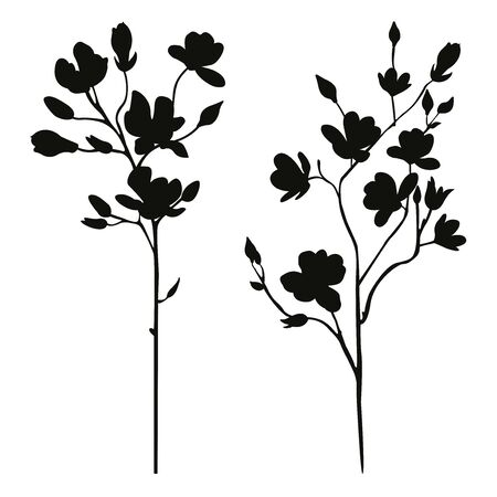 floral branches spring silhouette set