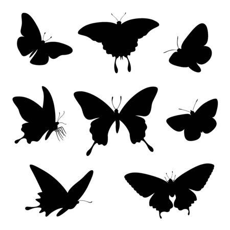 insieme dell'illustrazione della siluetta della farfalla Vettoriali