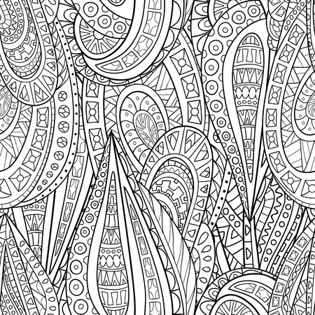 Seamless pattern of hand-drawn elements of style paisley. Monochrome range. Vector graphics. The pattern for the coloring books. Vector graphics.
