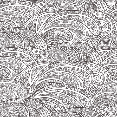 gamma: Seamless pattern of hand-drawn abstract elements. Monochrome gamma. Pattern for coloring book. Illustration