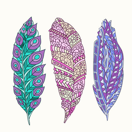 softly: Vector set of hand drawn colors feathers.