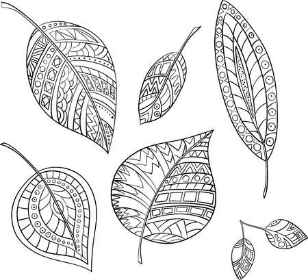A mano foglie stilizzate vettore di raccolta. Archivio Fotografico - 64485189