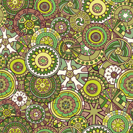 mandalas: Seamless pattern of hand-drawn and painted mandalas.