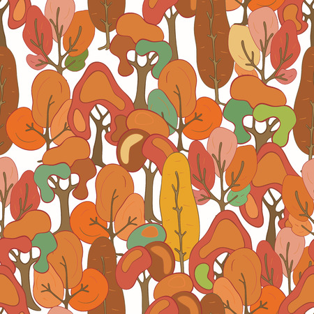 Seamless pattern of hand-drawn and colored trees. Autumn colors. Autumn forest. Illustration