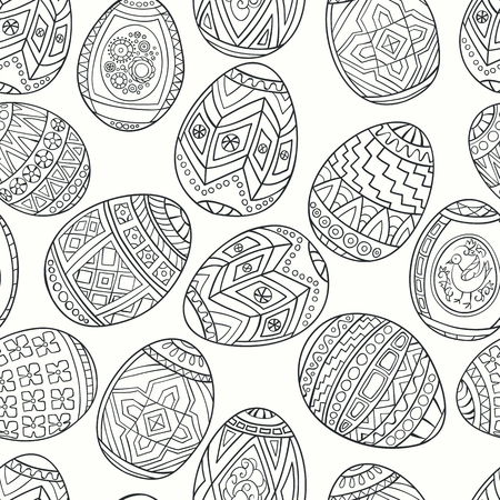 gamma: Seamless pattern of spring eggs. Monochrome gamma. Illustration