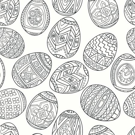 gamma: Seamless pattern of spring eggs. Monochrome gamma. Illustration