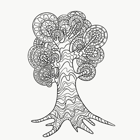 gamma: Decorative hand-drawn style tree zentangl. Monochrome gamma .. Illustration
