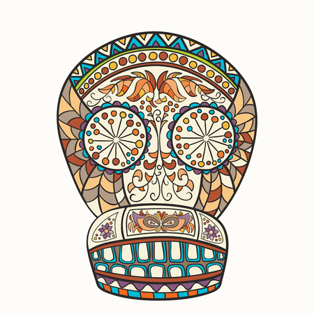 color tribal tattoo: Mexican skull, the original pattern. Vector illustration. Sugar Skull. Day of The Dead colorful Skull with floral and ethnic ornament. Illustration