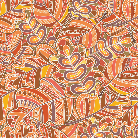 autumn colouring: Seamless pattern of hand-drawn and colored leaves.Vector graphics. Style zentangl. Autumn colors.
