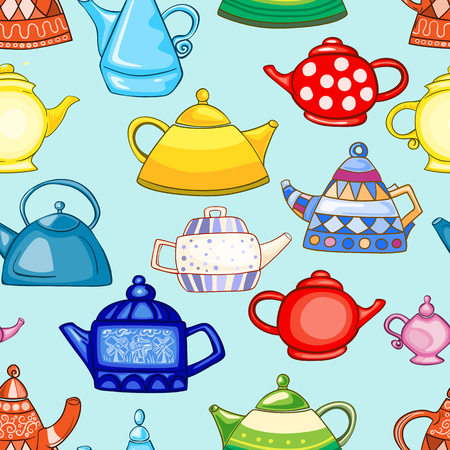 Seamless pattern of hand-drawn and painted teapots.
