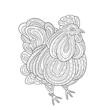 Coloring PagesZodiac Animals Rooster Zentangle On White BackgroundThe Logo For The New Year 2017 Chinese