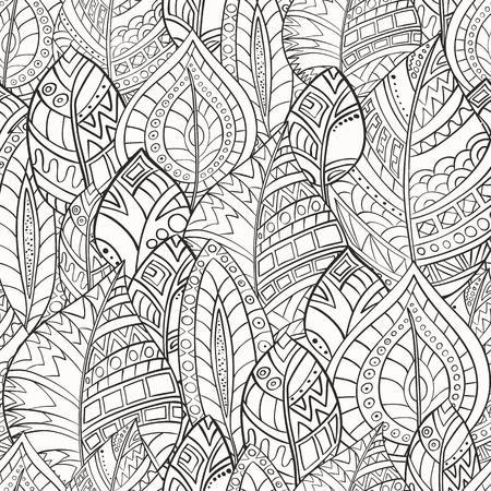 Modello senza cuciture delle foglie disegnate a mano in stile zentangl. Gamma monocromatica. Archivio Fotografico - 65644754