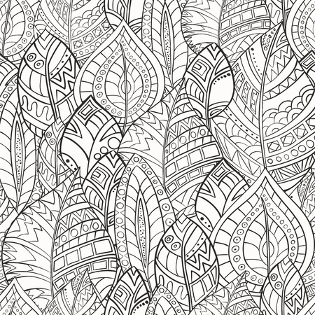 Seamless pattern of leaves drawn by hand in zentangl style. Monochrome range.