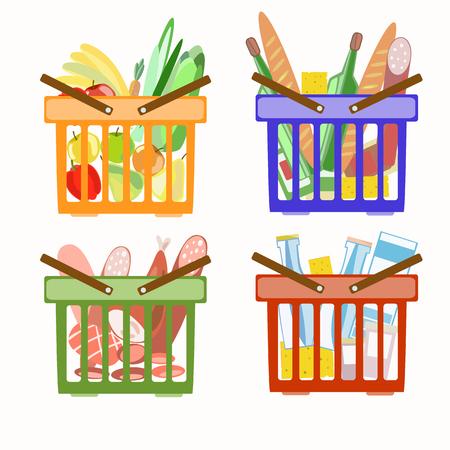 Set of baskets from the supermarket. Basket with meat products. Basket with dairy products. Basket with fruits and vegetables. Illustration