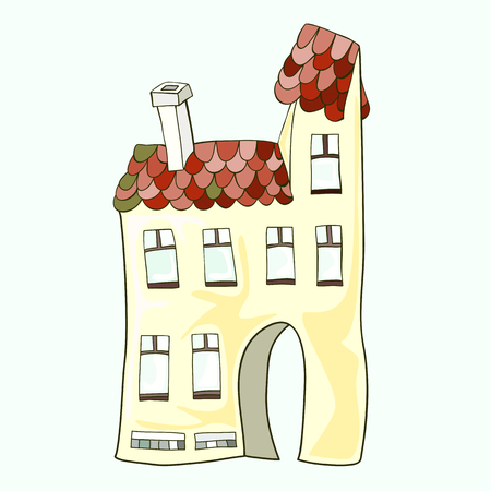 A two-storey house with a chimney, hand-drawn and painted. Illustration
