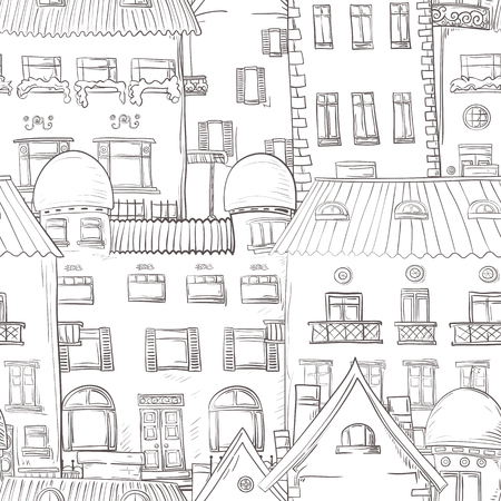homes: Seamless pattern of hand-painted homes. Monochrome gamma.