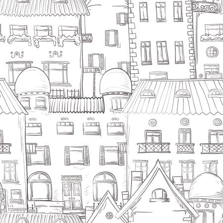 gamma: Seamless pattern of hand-painted homes. Monochrome gamma.