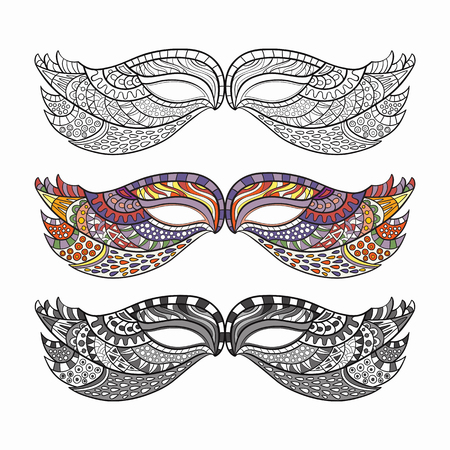 carnival masks: Set of carnival masks, hand-drawn and colored.
