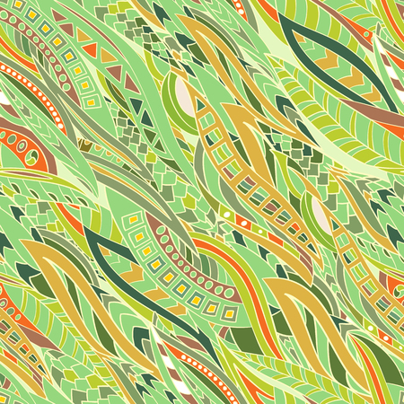Seamless pattern of abstract, geometric bands in style zentangl. Hand-drawn and painted.