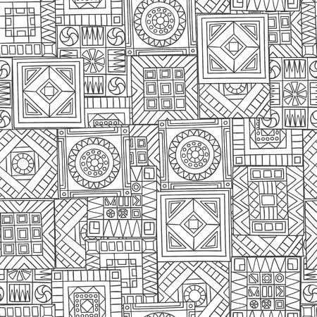 gamma: Seamless pattern of hand-drawn abstract elements. Monochrome gamma. Illustration