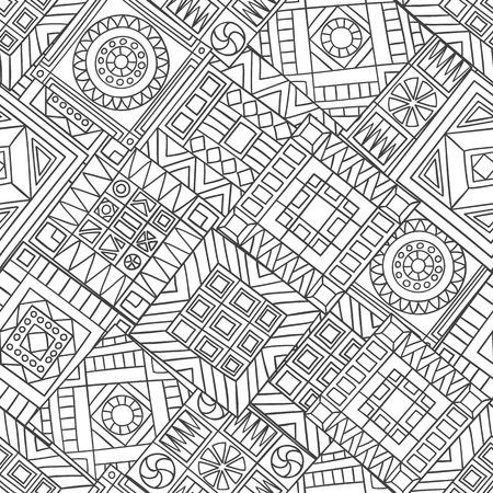 Seamless pattern of hand-drawn abstract elements. Monochrome gamma. Çizim
