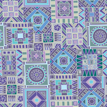 blue background texture: Seamless pattern of hand-drawn and colored abstract elements. Vector graphics.
