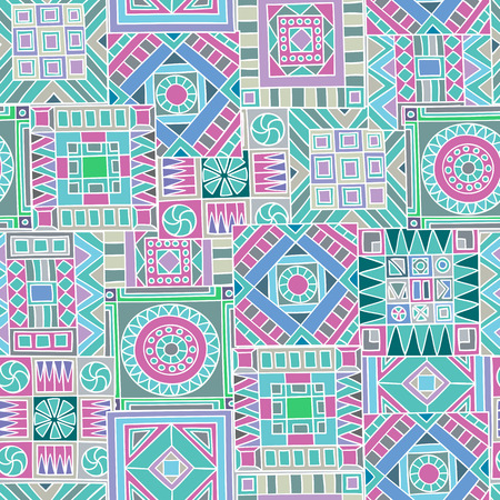 dcor: Seamless pattern of hand-drawn and colored abstract elements. Vector graphics.