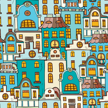 Seamless pattern of hand-drawn and colored houses. Illustration