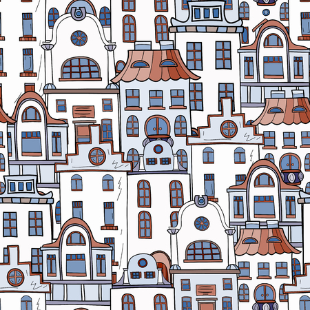 old houses: Seamless pattern of hand-drawn and colored houses. Illustration