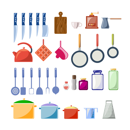 A set of kitchen utensils in a flat style. Vector graphics.