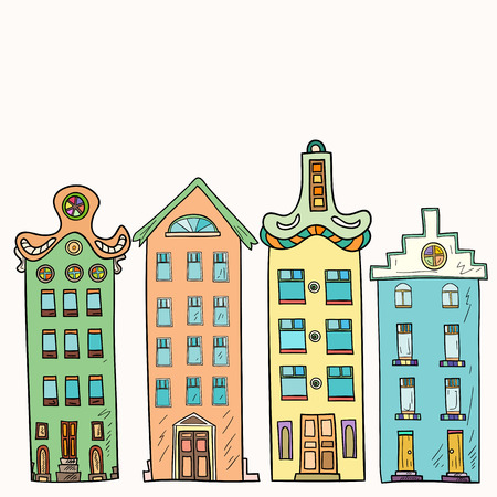Set of hand-drawn and colored, decorative houses. Illustration