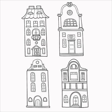 gamma: Set of hand-painted, decorative houses. Monochrome gamma ..