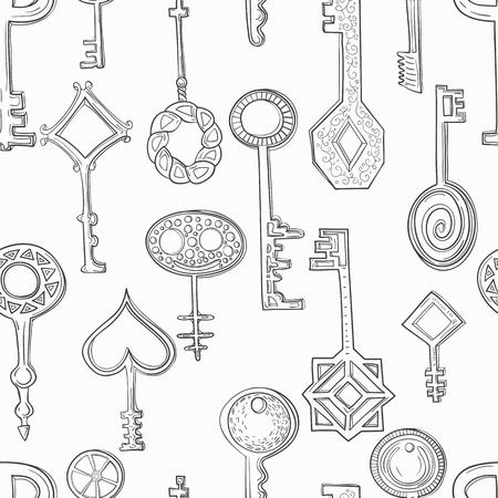 gamma: Seamless pattern of hand-drawn key. Monochrome gamma ..