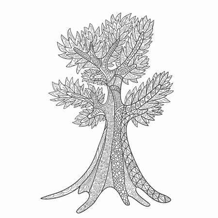 gamma: Decorative, hand-drawn tree zentangl style. Monochrome gamma ..
