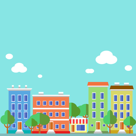 Flat design urban landscape illustration. Illustration