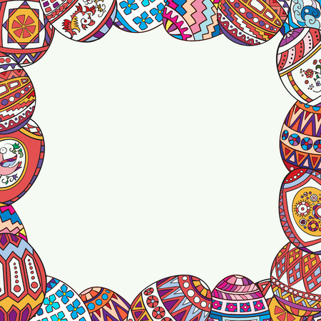Decorative frame of painted Easter eggs. Illustration