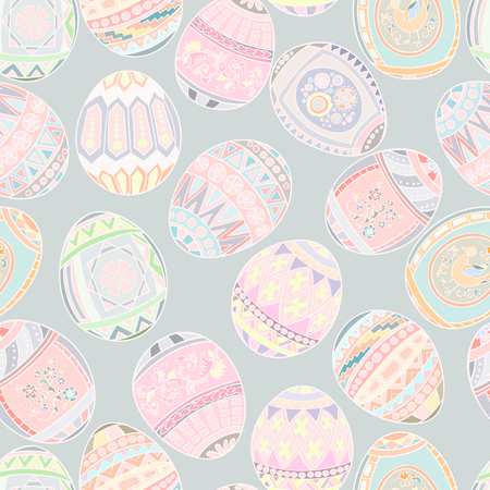 gamma: Seamless pattern of colored Easter eggs. Pastel gamma. Illustration