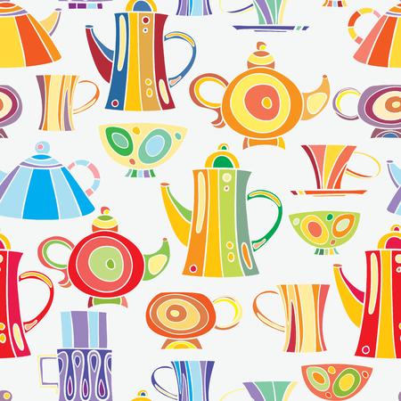 Modello senza cuciture di teiere e tazze disegnati a mano e dipinti in stile cartoon. Grafica vettoriale Archivio Fotografico - 71489843