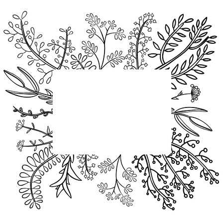 Decorative frame of hand-drawn twigs with leaves, berries and flowers. Vector graphics.