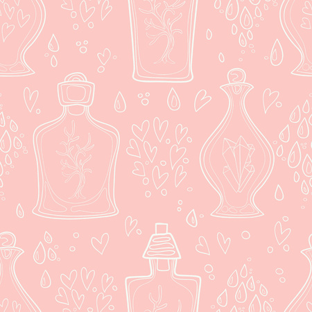 Seamless pattern of hand-painted decorative bottles. Vector graphics. Archivio Fotografico - 127577136