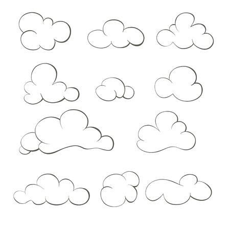 Set of hand-drawn clouds. Set of doodle clouds. Archivio Fotografico - 127578171
