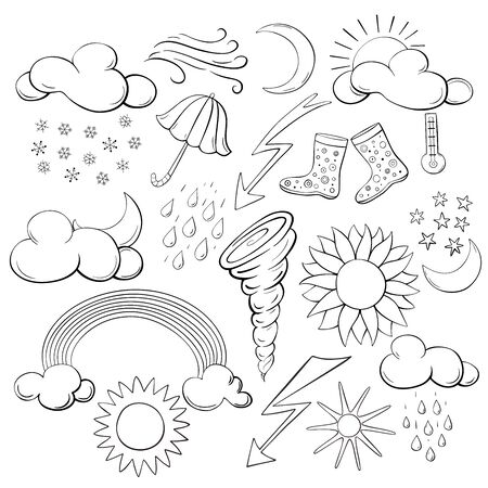 Set of  weather symbols. Elements for weather forecasting. Vector illustration. Archivio Fotografico - 130743836