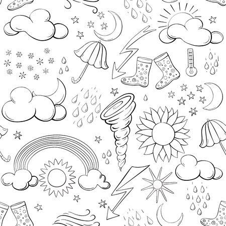 Seamless pattern weather symbols. Vector illustration.