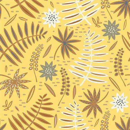 Tropical leaf and flowers seamless pattern. Palm leaves vector graphics. Archivio Fotografico - 130743869