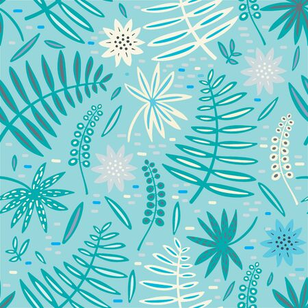 Tropical leaf and flowers seamless pattern. Palm leaves vector graphics. Archivio Fotografico - 130743878