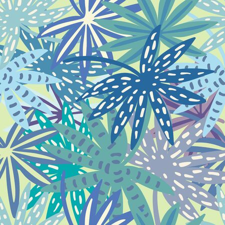 Tropical leaf seamless pattern. Palm leaves vector graphics. Archivio Fotografico - 130743884